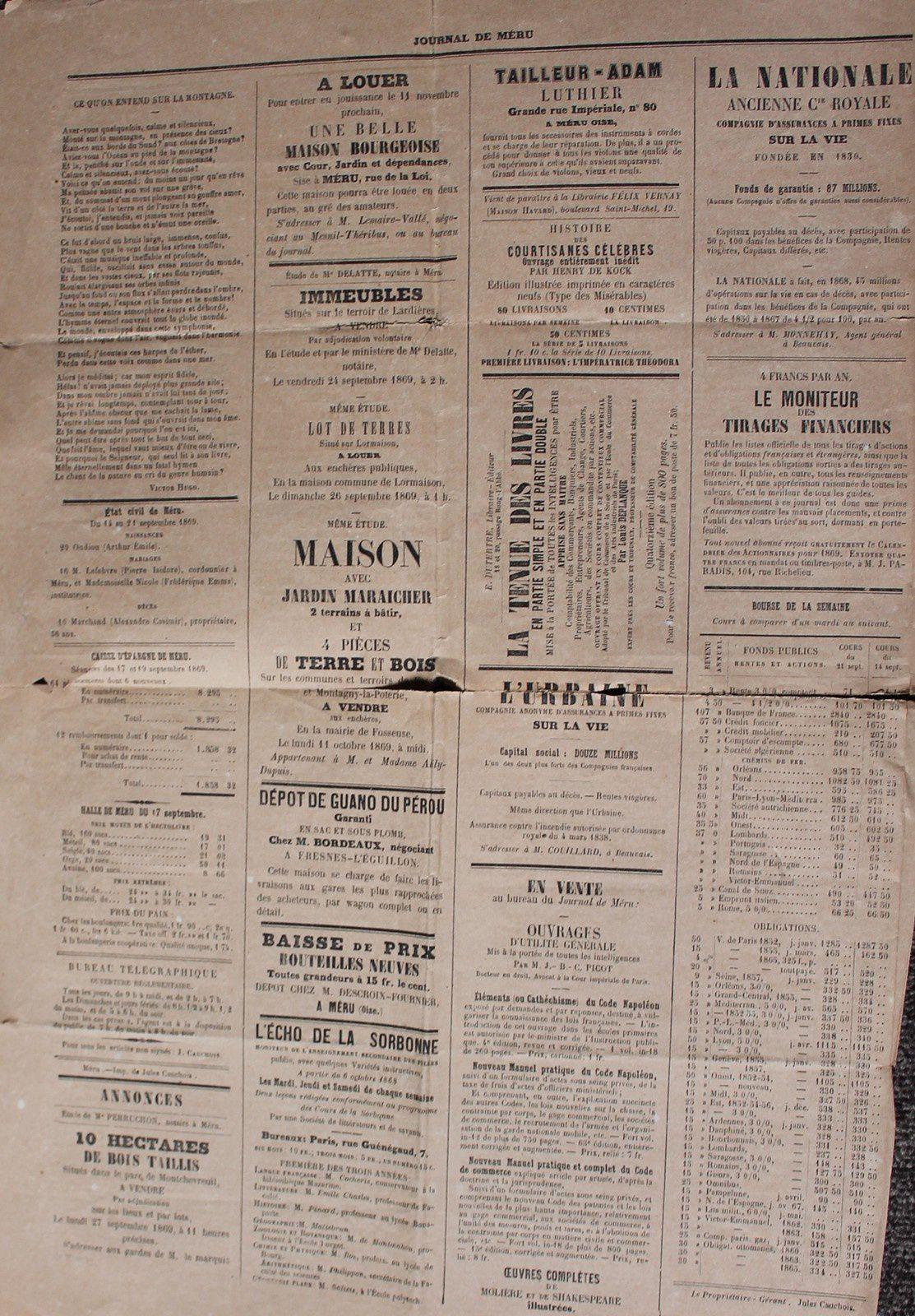 """la """"une"""" du journal en 1868 derière page publicité"""