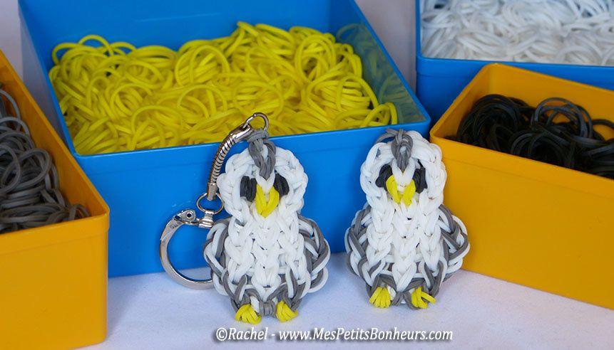 chouettes de http://www.mespetitsbonheurs.com/nouveau-modele-danimal-en-elastiques-une-chouette-blanche-et-grise/