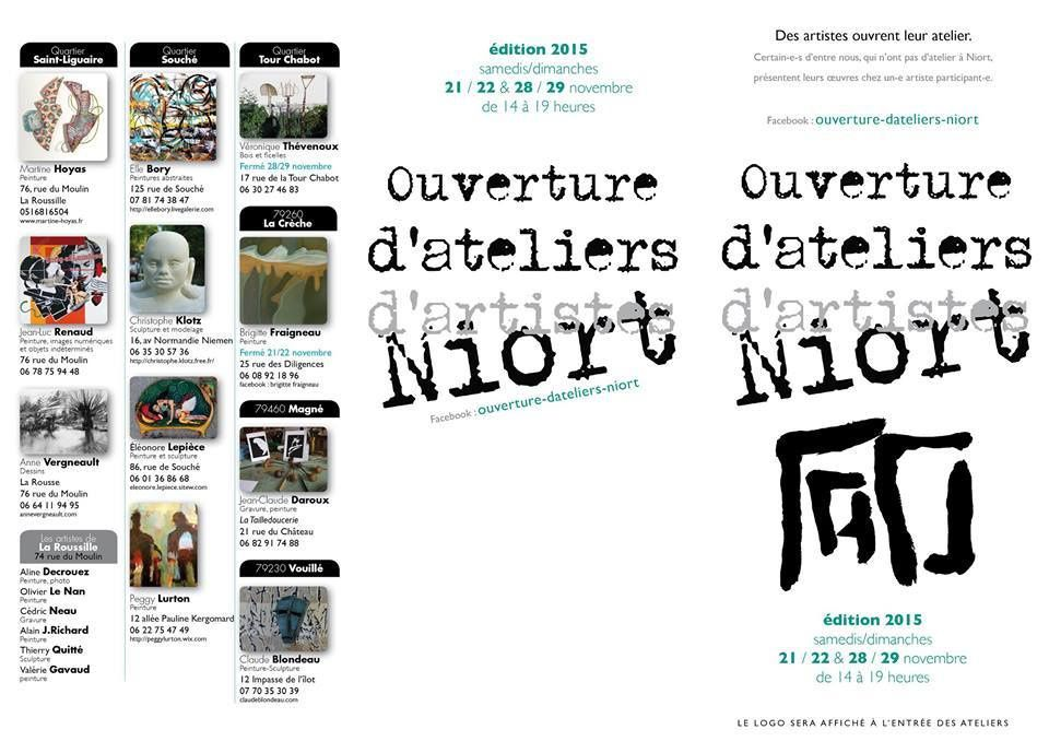 Dépliant des visites d'ateliers de Niort en novembre 2015