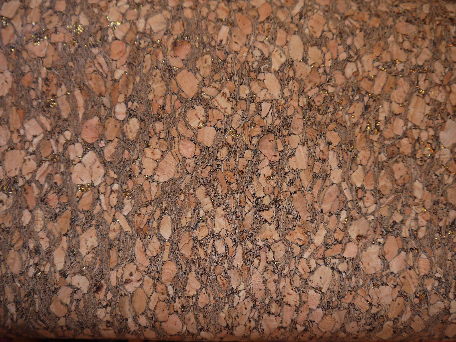 liège paillettes dorées sur tissu en 70 cm de large
