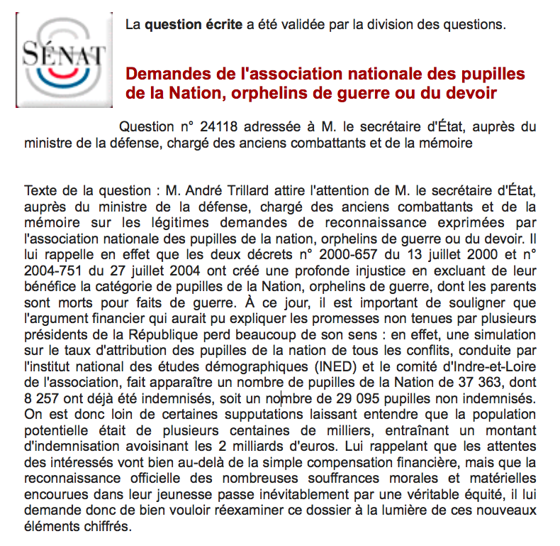 question au gouvernement  : association nationale des pupilles de la Nation, orphelins de guerre ou du devoir