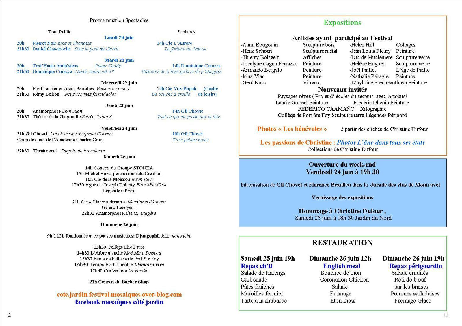 En détail ! LA PROGRAMMATION DU FESTIVAL Côté Jardin Juin 2016
