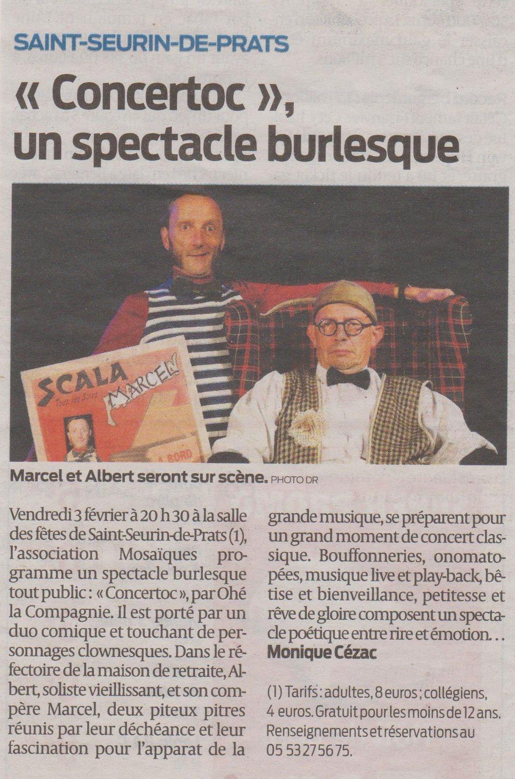 N'oubliez pas vendredi le &quot&#x3B;CONCERTOC&quot&#x3B; de Ohé la compagnie vu par la presse ! Nouveau spectacle de Frad Lasnier et Jean-Marc Noirot-Cosson
