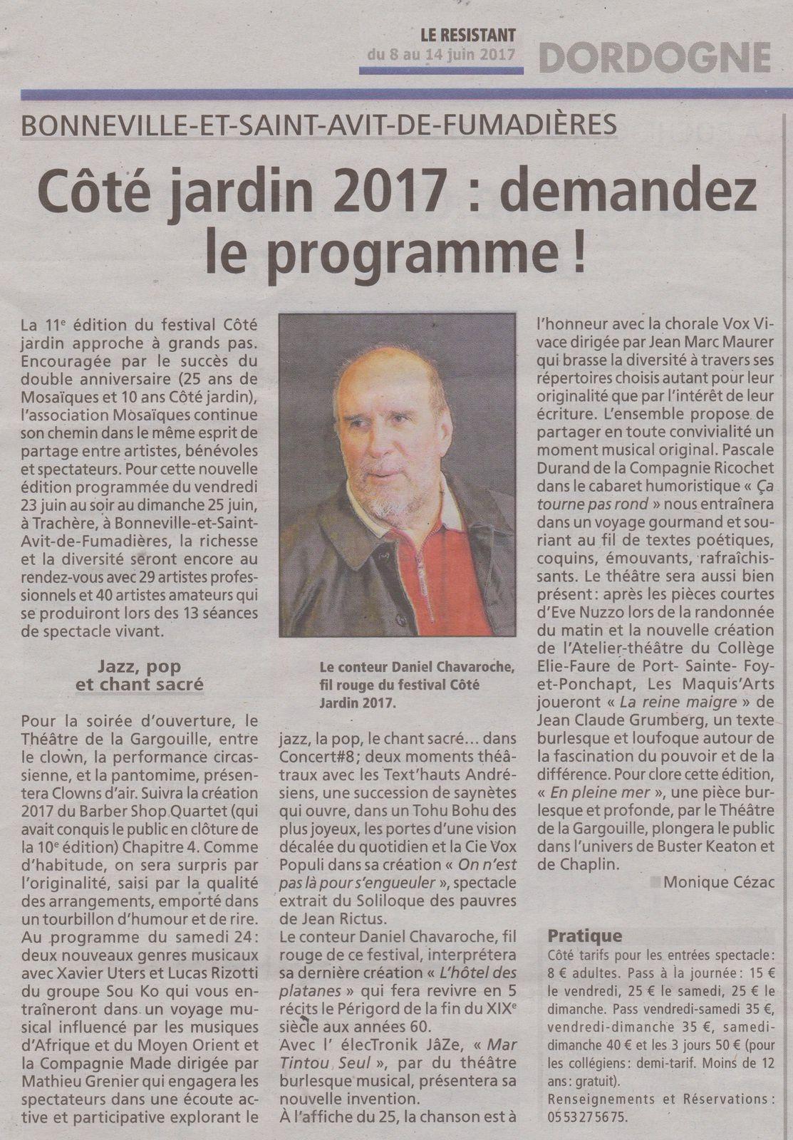 Le Résistant du 8 juin 2017 Monique Cézac et Christian Cluzeau