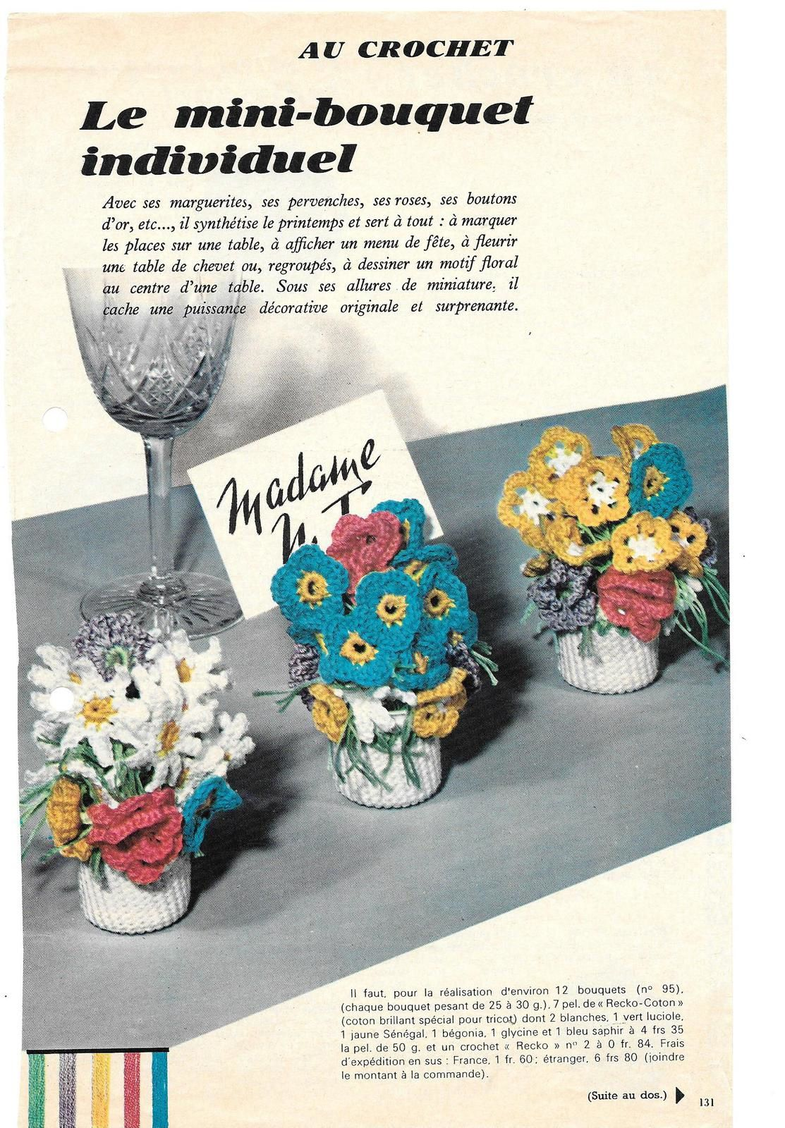 mini-bouquets de fleurs au crochet (pots et fleurs)