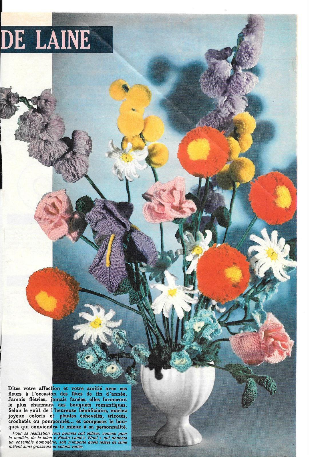 Bouquet de fleurs tricotées