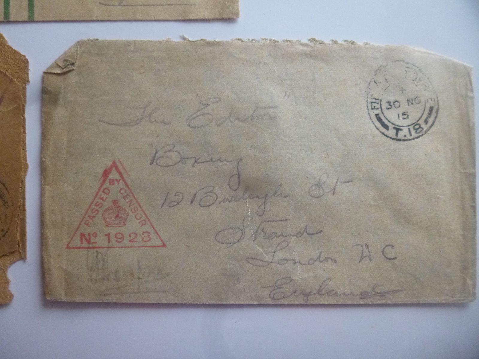enveloppe soldat anglais et canadiennes ww1