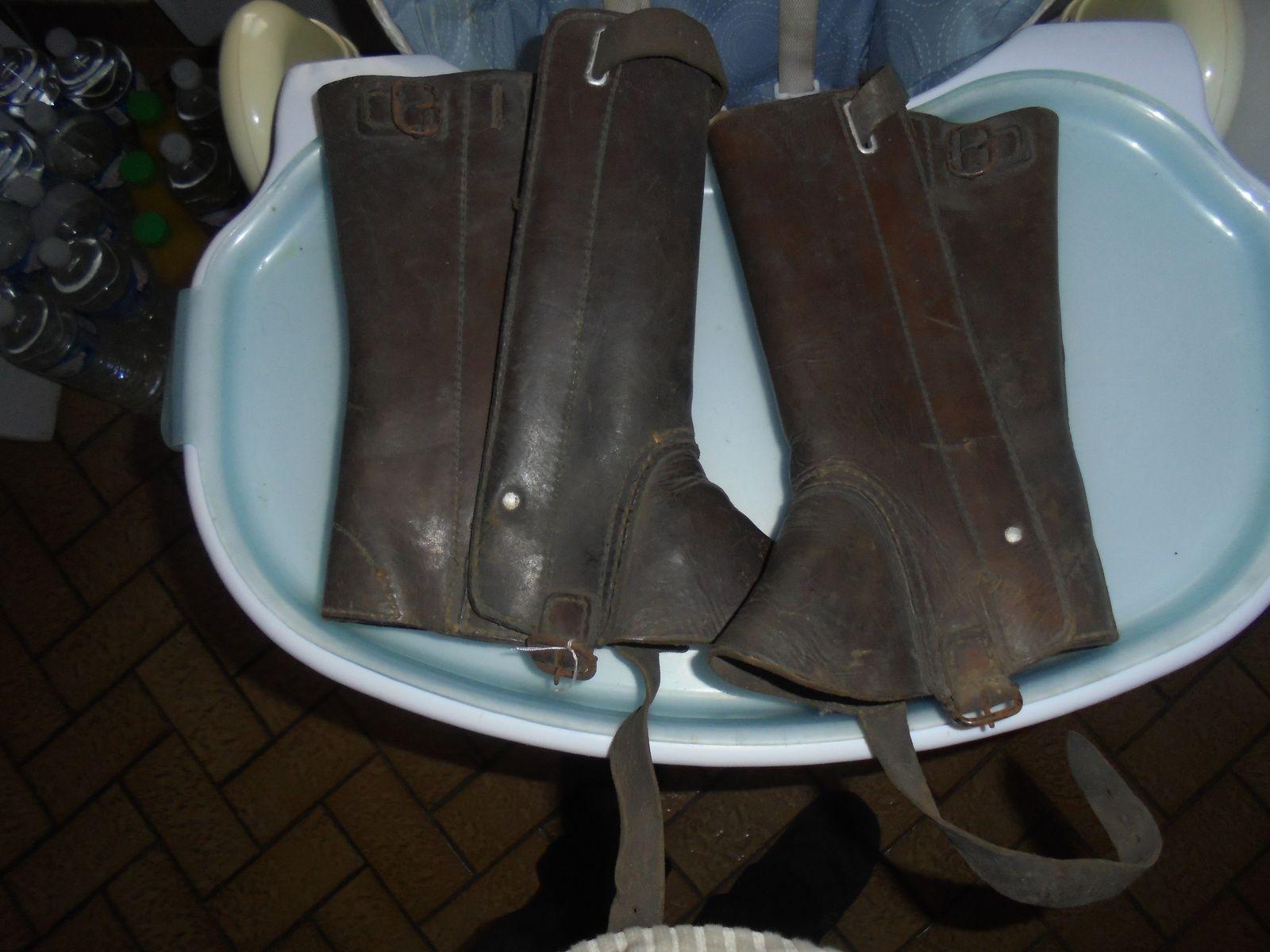 paire de guetre en cuir cavalllerie(housseaux)