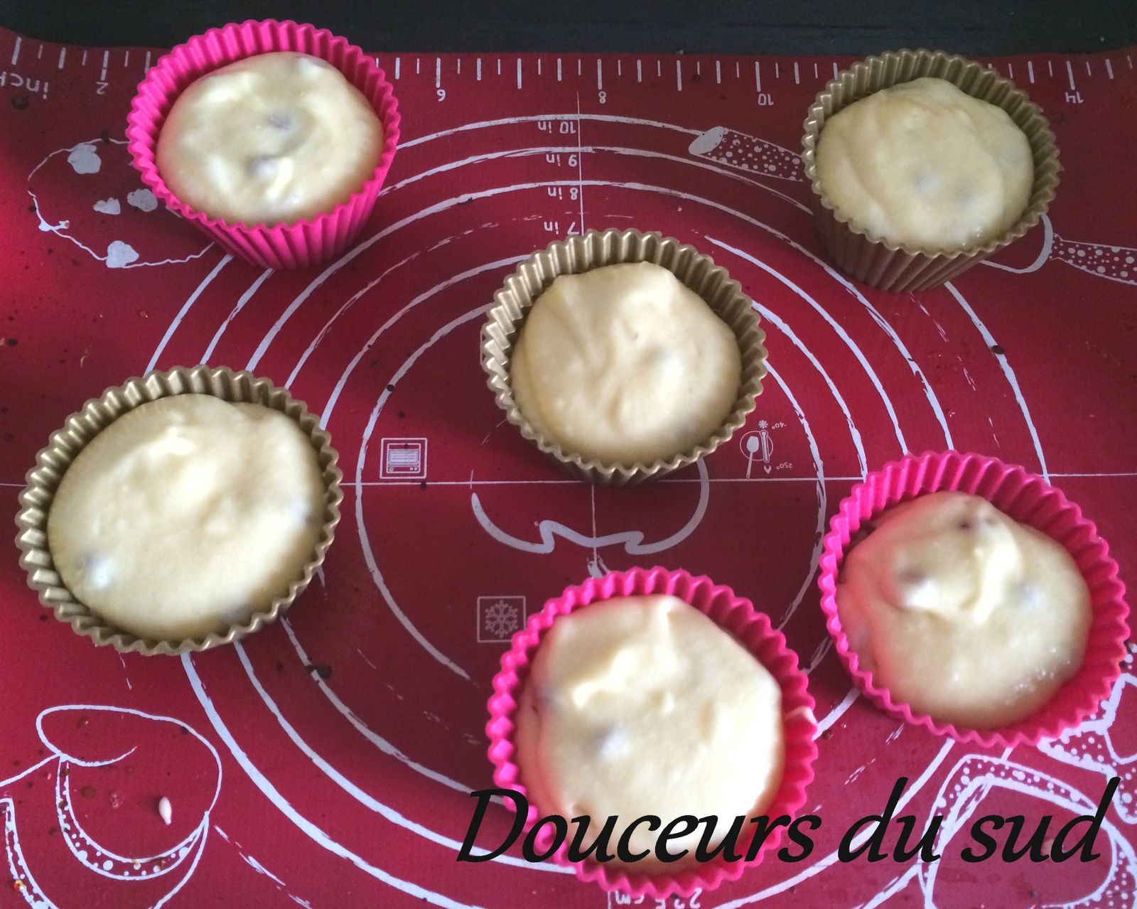 Muffins coeur fondant aux pépites de chocolat
