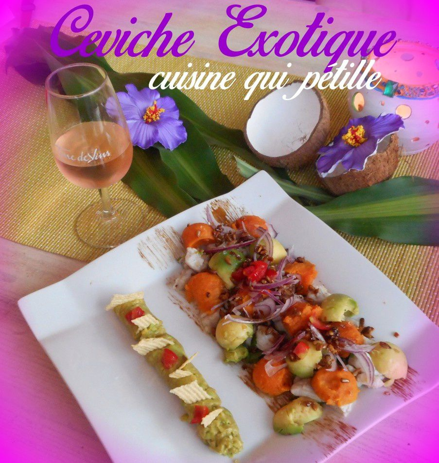 Ceviche de cabillaud fruit exotique