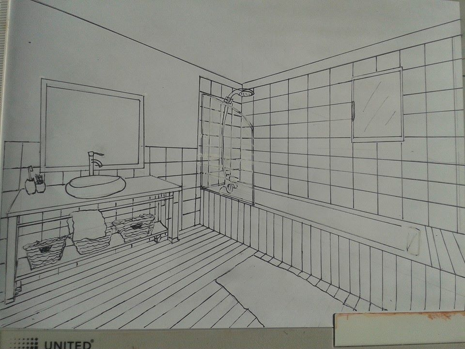 projet de r novation de salle de bain croquis et mise en couleurs project of renovation of. Black Bedroom Furniture Sets. Home Design Ideas