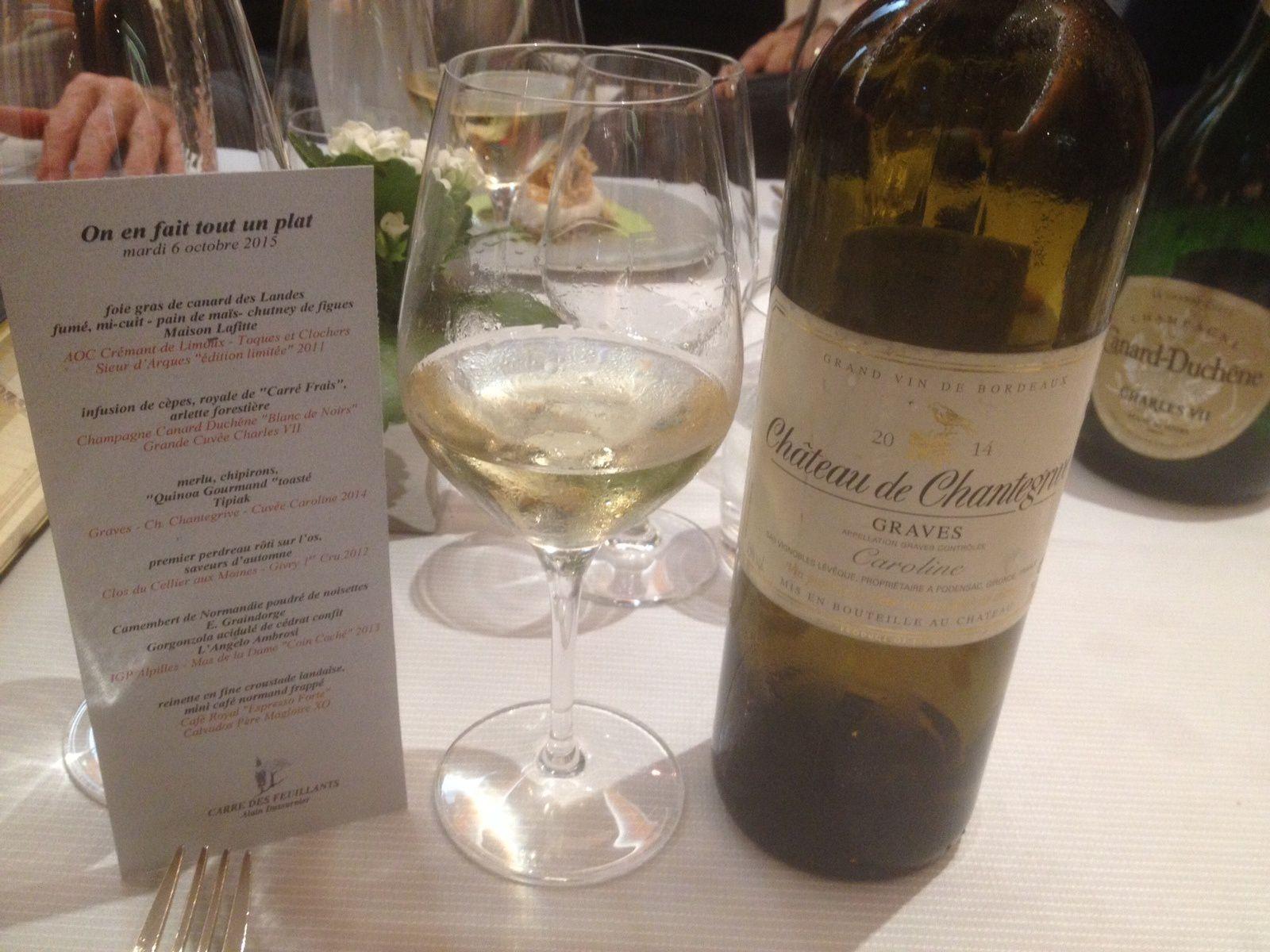 Avec le merlu, les chipirons et le quinoa, la Cuvée Caroline de Château de Chantegrive.