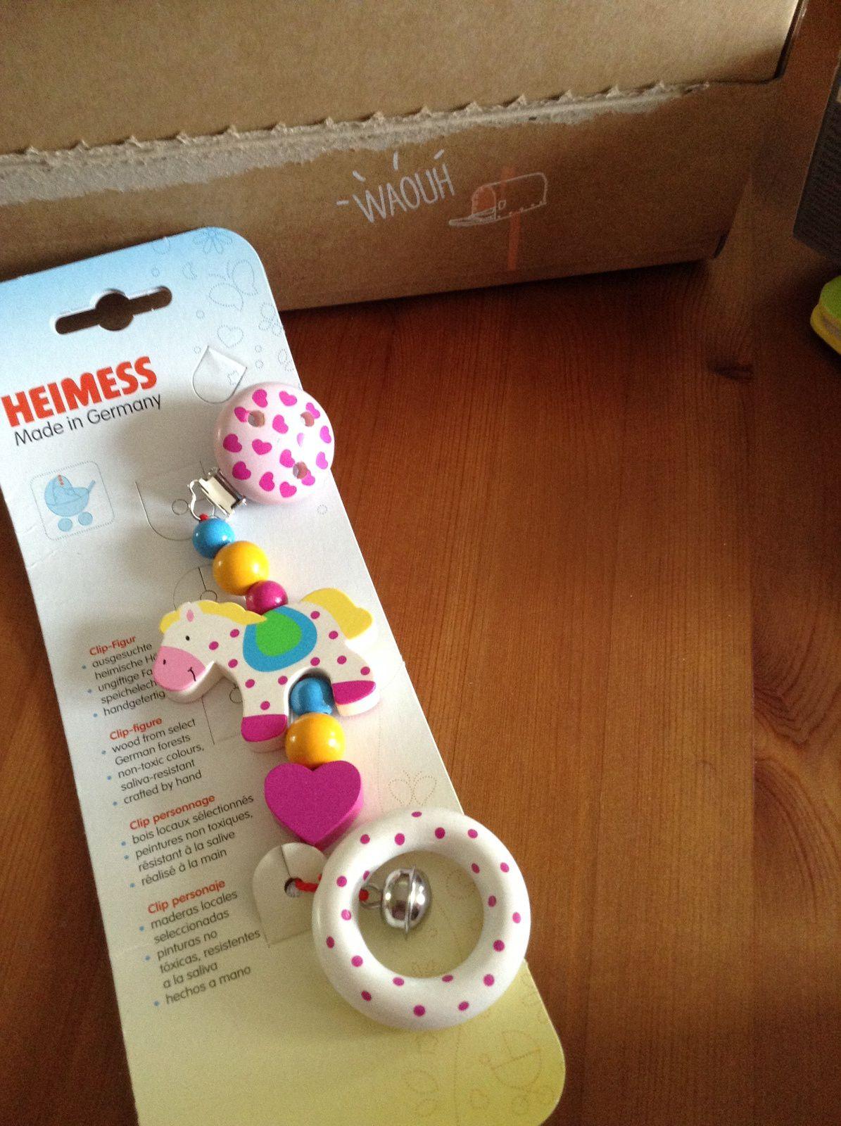 Clips colorés pour poussette - marque Heimess - 6,05 €
