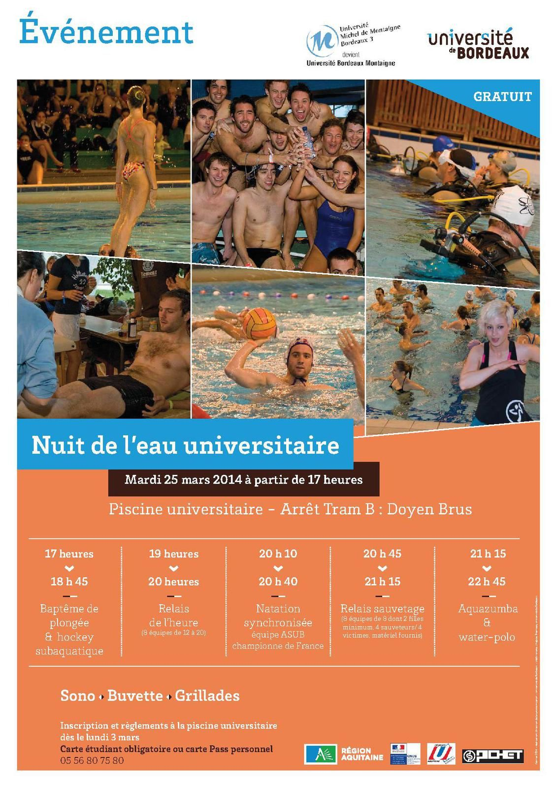 Sport campus nuit de l 39 eau jacques fabre ufr staps for Piscine universitaire talence