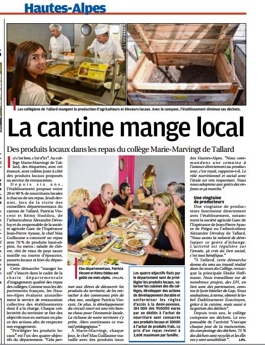 La Provence Les Alpes - Article : Du local dans les assiettes des colleges des Hautes-Alpes