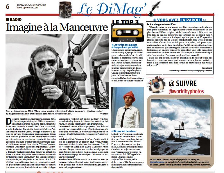 La Provence Les Alpes - Article : Philippe MANOEUVRE sur Imagine