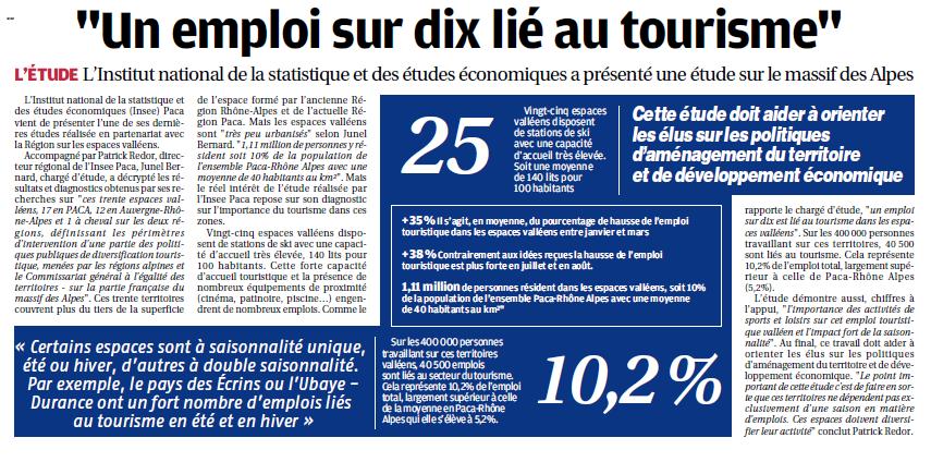 La Provence Les Alpes - Article : Etude Insee PACA sur les Espaces Valleens