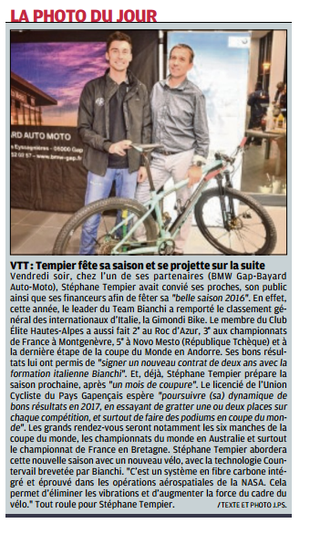 La Provence Les Alpes - Article : Stéphane Tempier célèbre sa belle saison 2016.