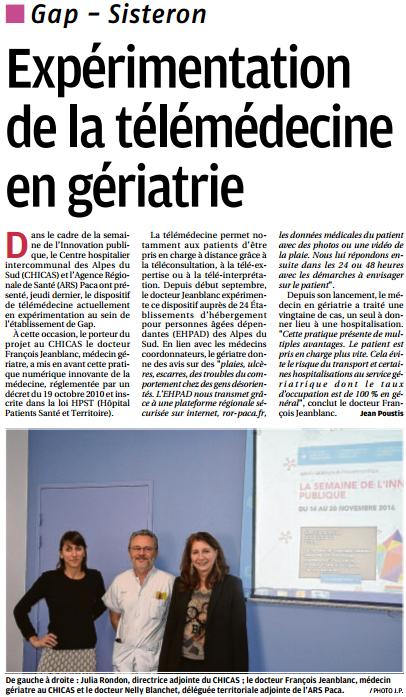 La Provence Les Alpes - Article : Experimentation Telemedecine C.H.I.C.A.S Gap