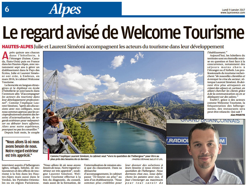 La Provence Les Alpes - Article : Le regard avisé de Welcome Tourisme