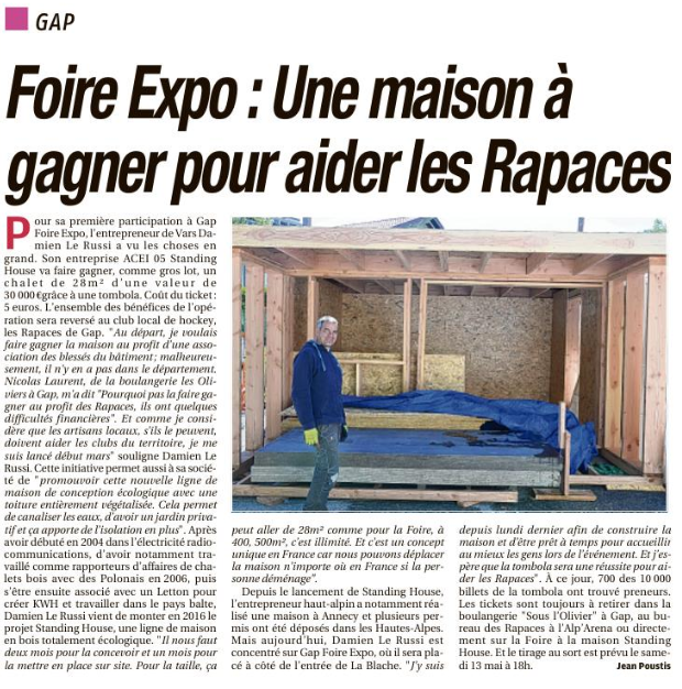 La Provence Les Alpes - Article : Une maison à gagner au profit des Rapaces de Gap