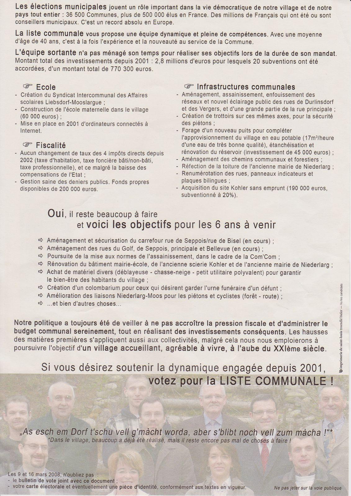 Le programme de la &quot&#x3B;Liste communale&quot&#x3B; de 2008 (élections municipales Mooslargue 2008)