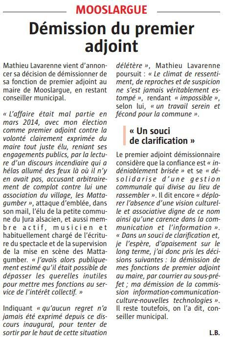 Mooslargue: démission du 1er adjoint au maire