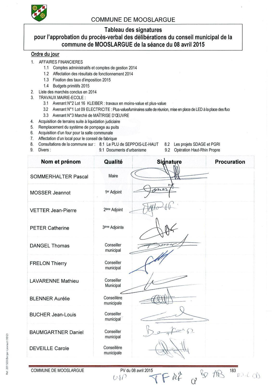 Conseil municipal du 8 avril 2015