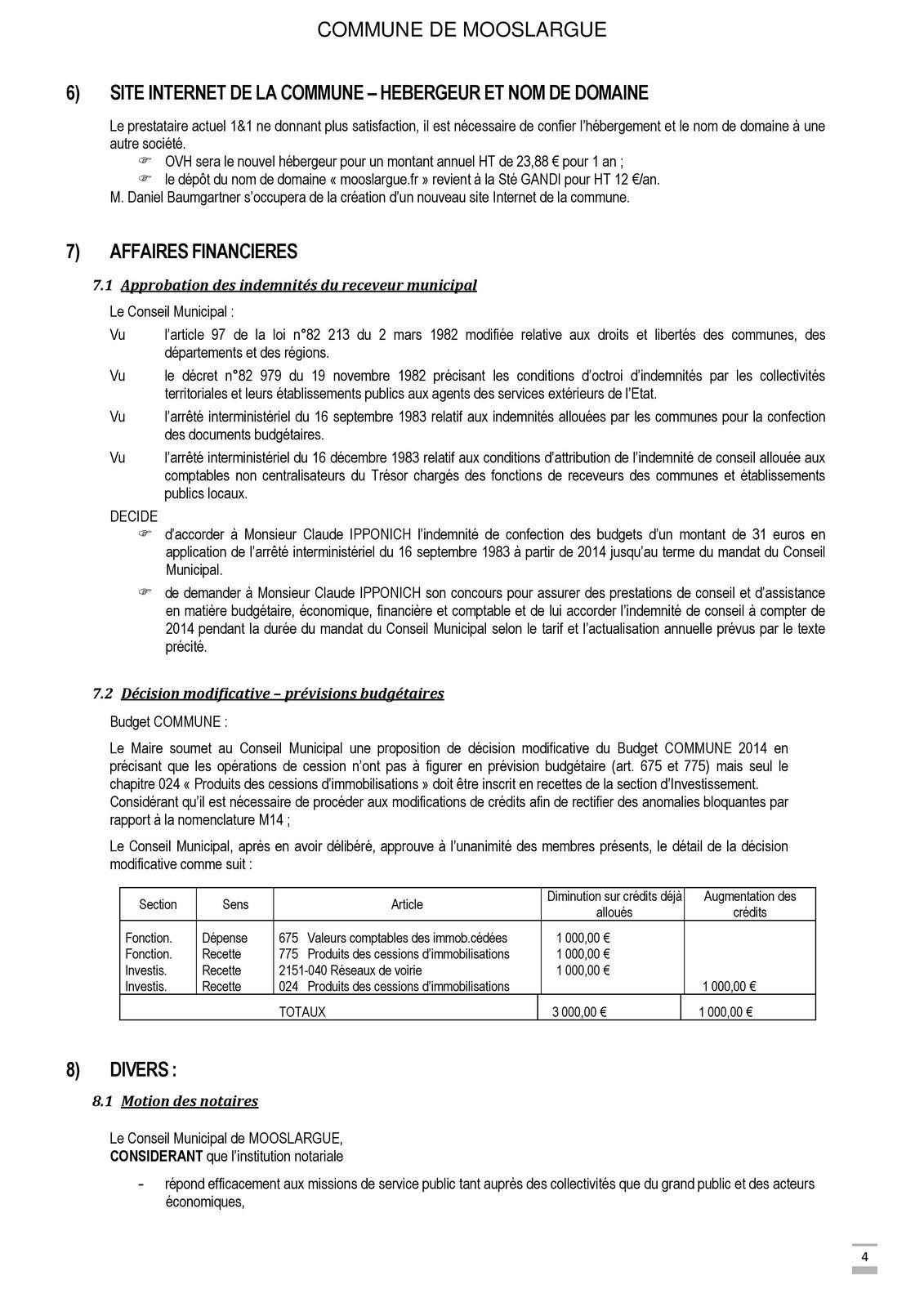 Conseil municipal du 2 décembre 2014