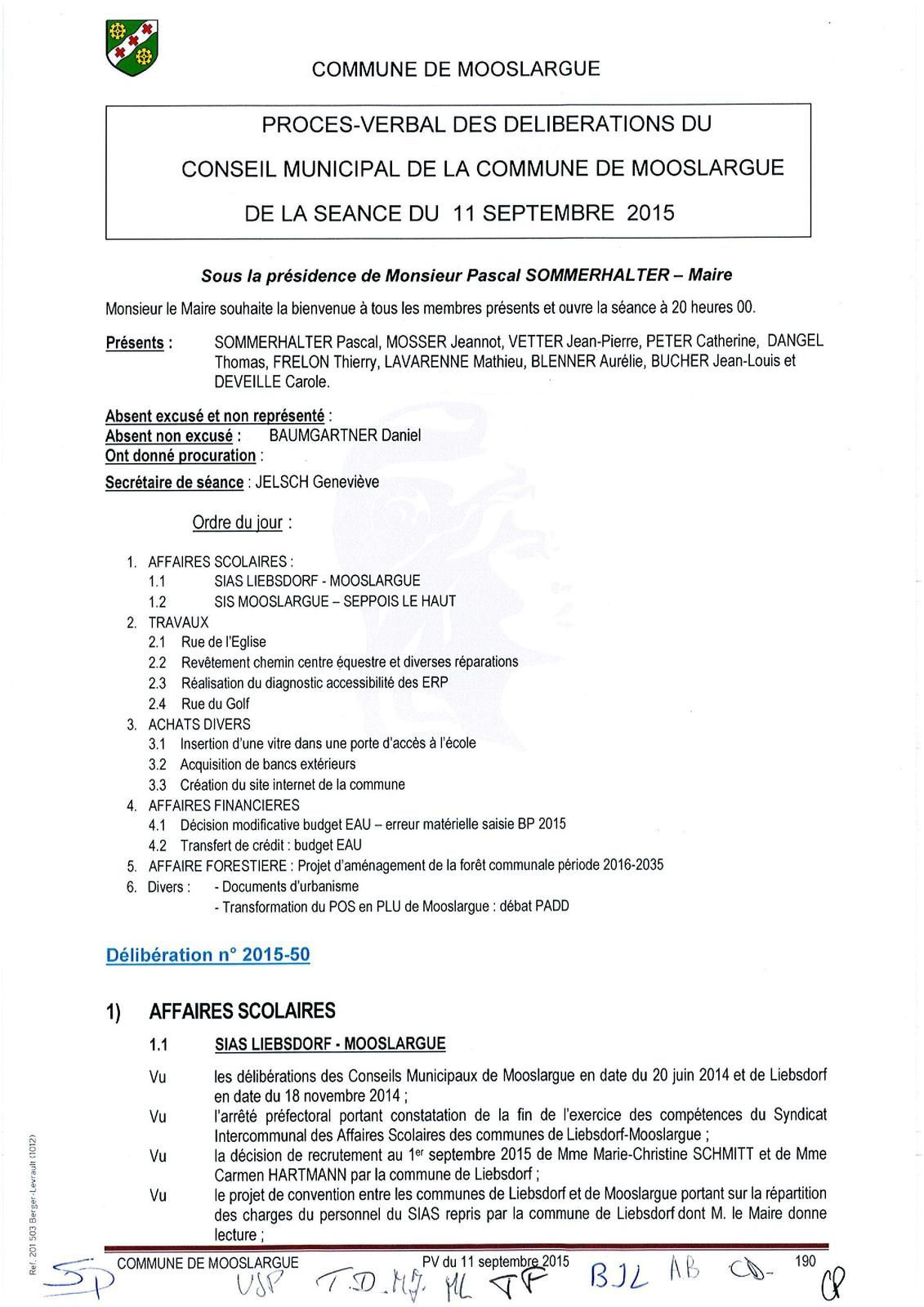Conseil municipal du 11 septembre 2015
