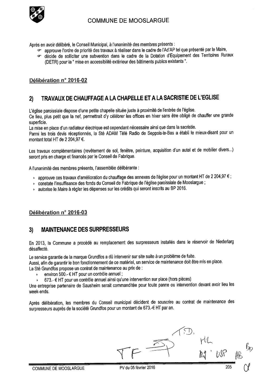 Conseil municipal du 5 février 2016