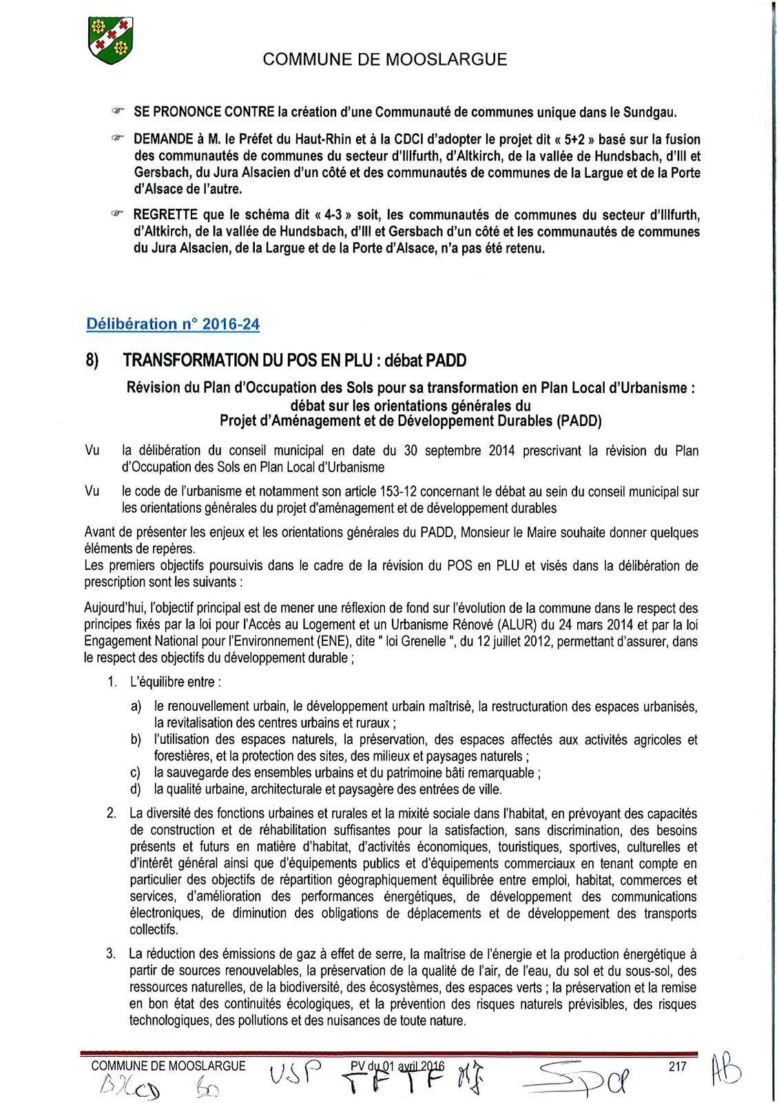 Conseil municipal du 1er avril 2016