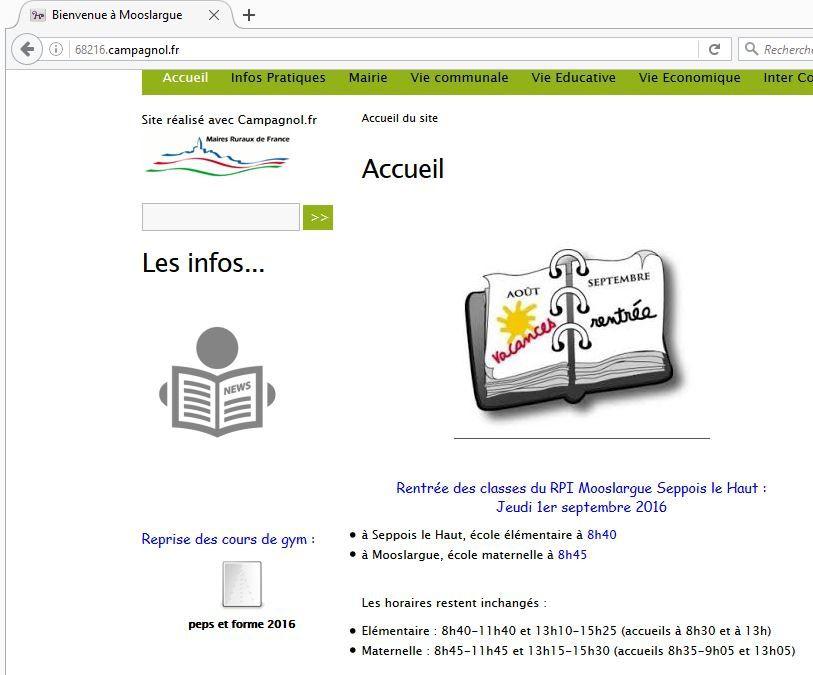 """Page d'accueil du site Mooslargue.fr avec le lien sur le flyer de """"Peps et forme"""""""