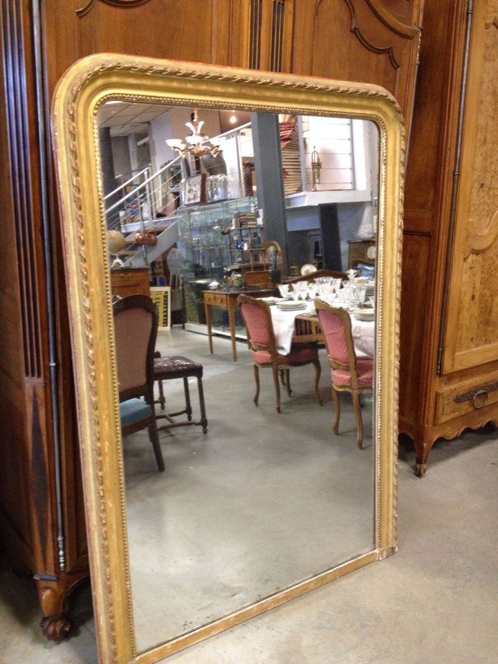 Grand miroir dor louis philippe antiquairelarochelle for Miroir louis philippe