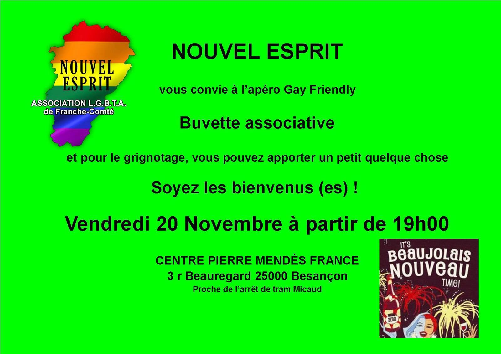 Apéro Gay-Friendly Vendredi 20 Novembre 2015