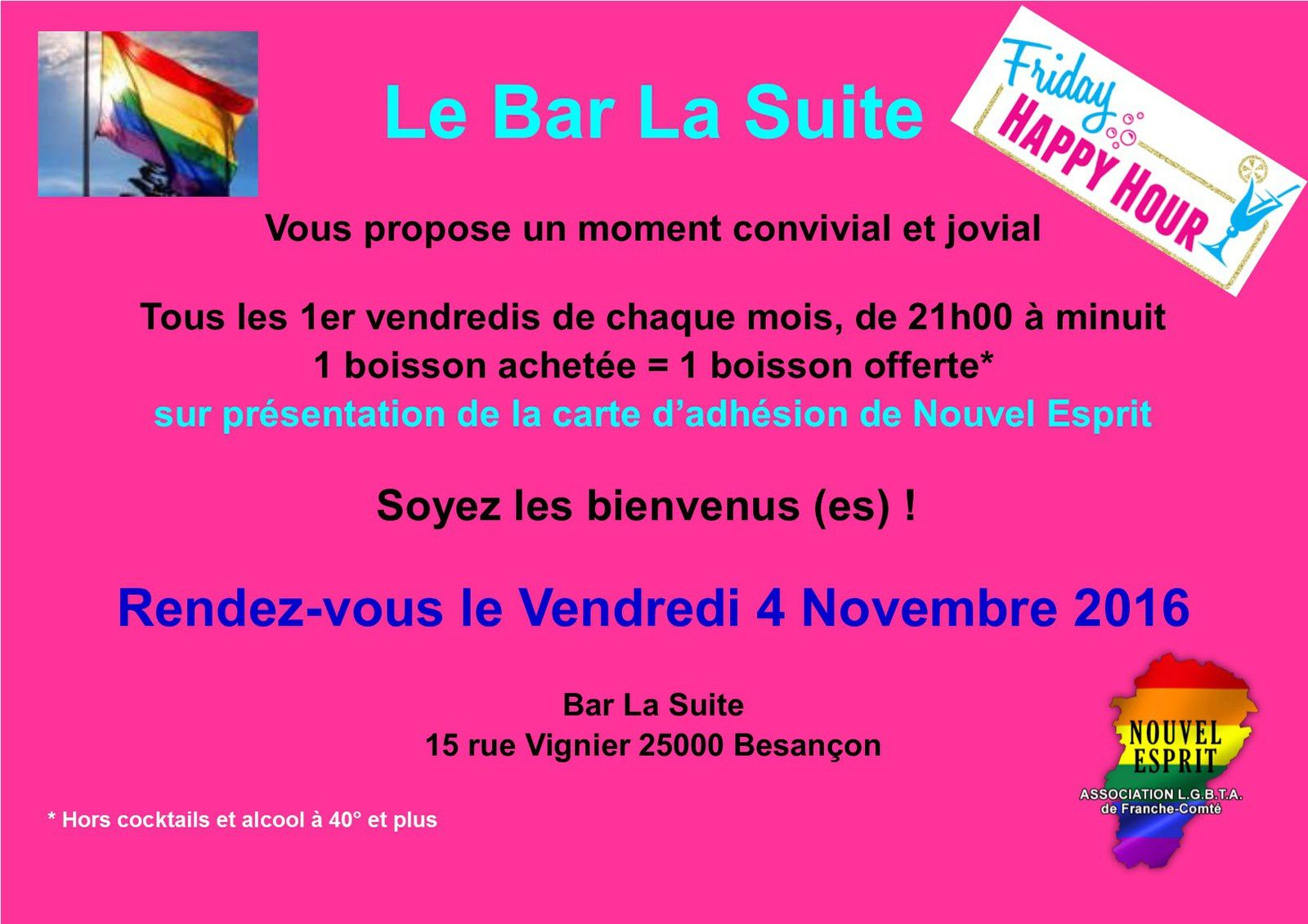 Petit rappel Happy Hour au Bar La suite