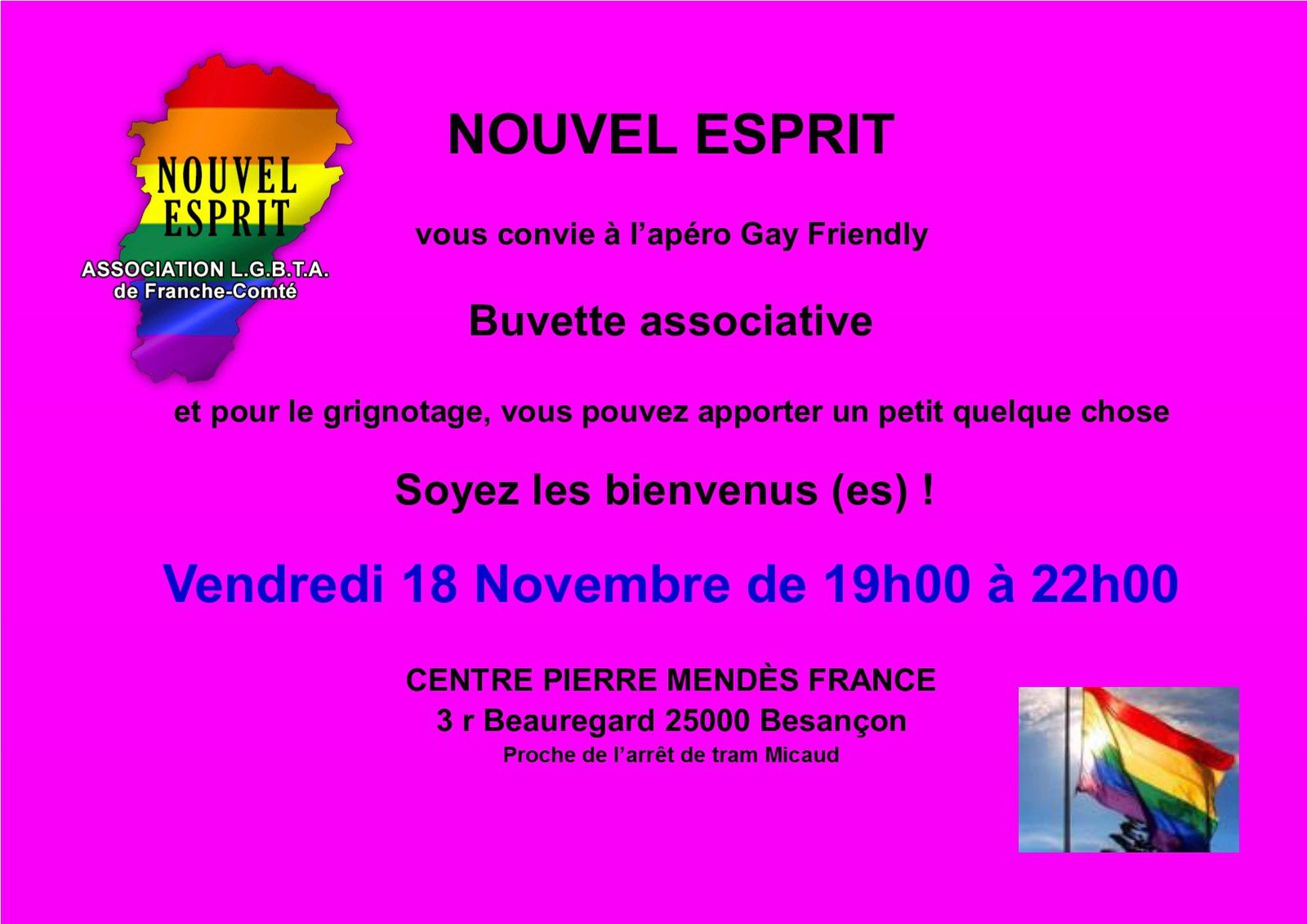 Apéro Gay-Friendly Vendredi 18 Novembre 2016