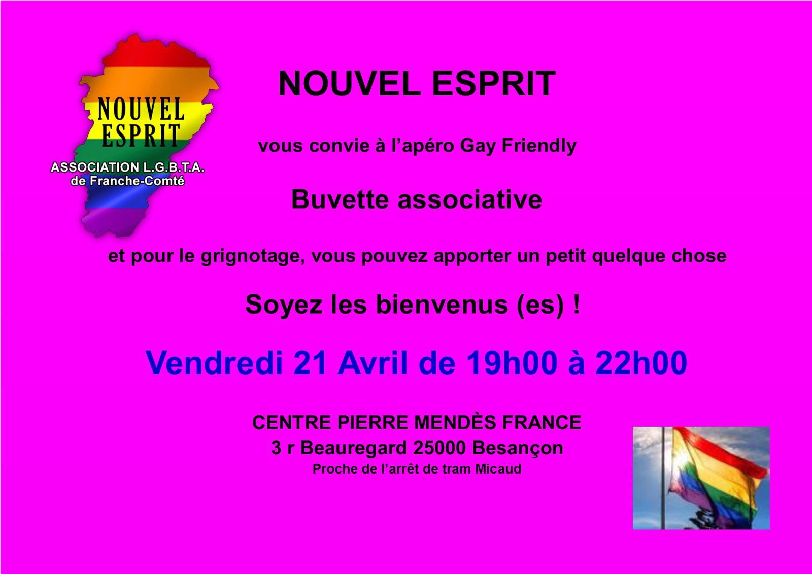 Apéro Gay-Friendly Vendredi 21 Avril