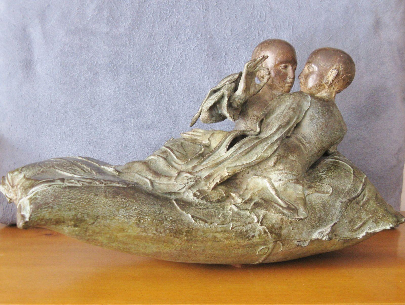 La barque, bronze de Georges Jeanclos (1933-1997)