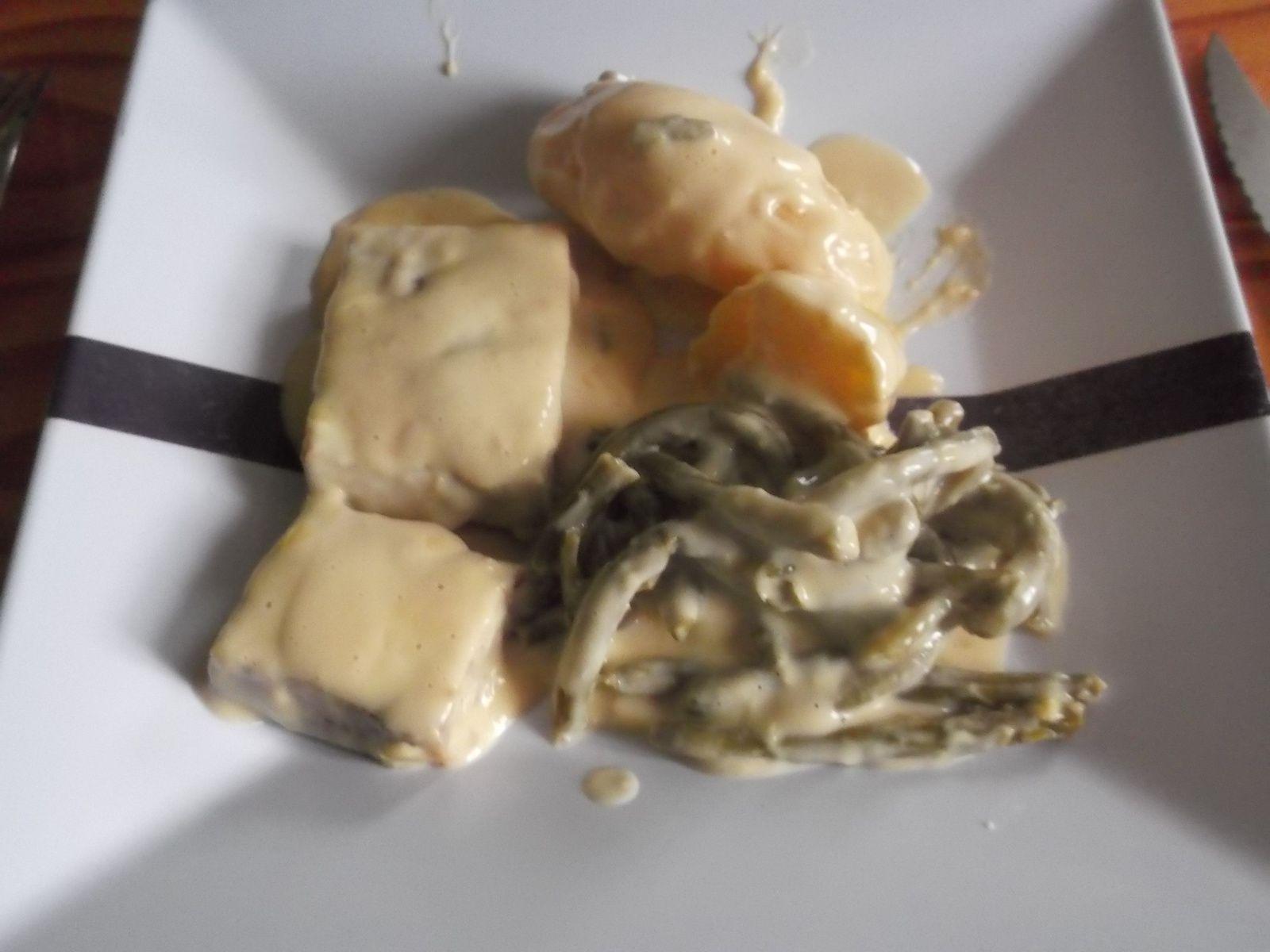 pavé de colin + pommes de terre et haricots verts