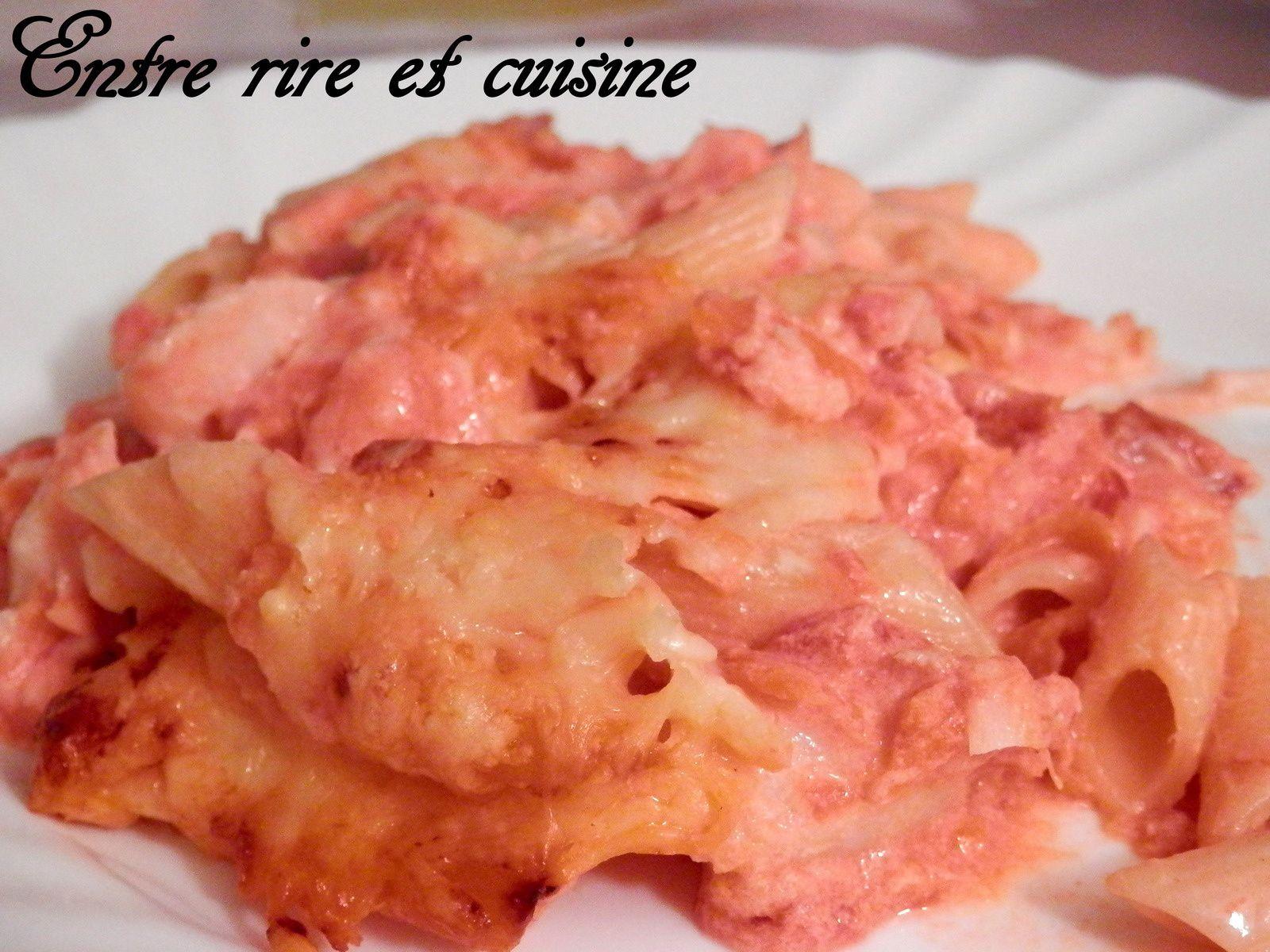 Gratin de Penne Rigate aux 2 poissons, tomates et ricotta