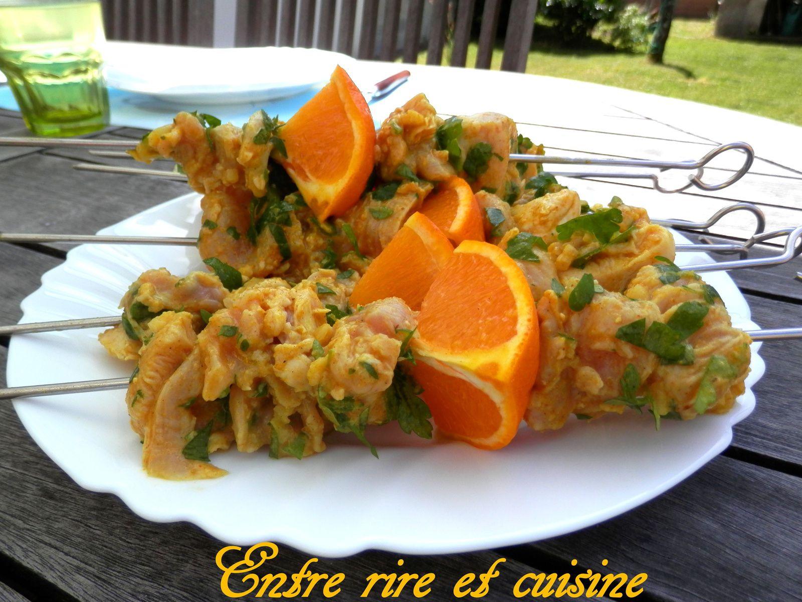 Brochettes de poulet mariné aux Agrumes