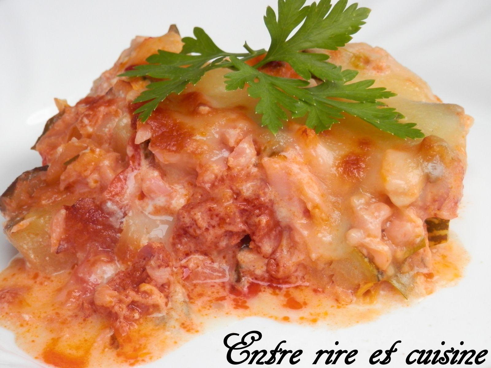 Gratin de Saumon et Chorizo, aux courgettes et aux tomates