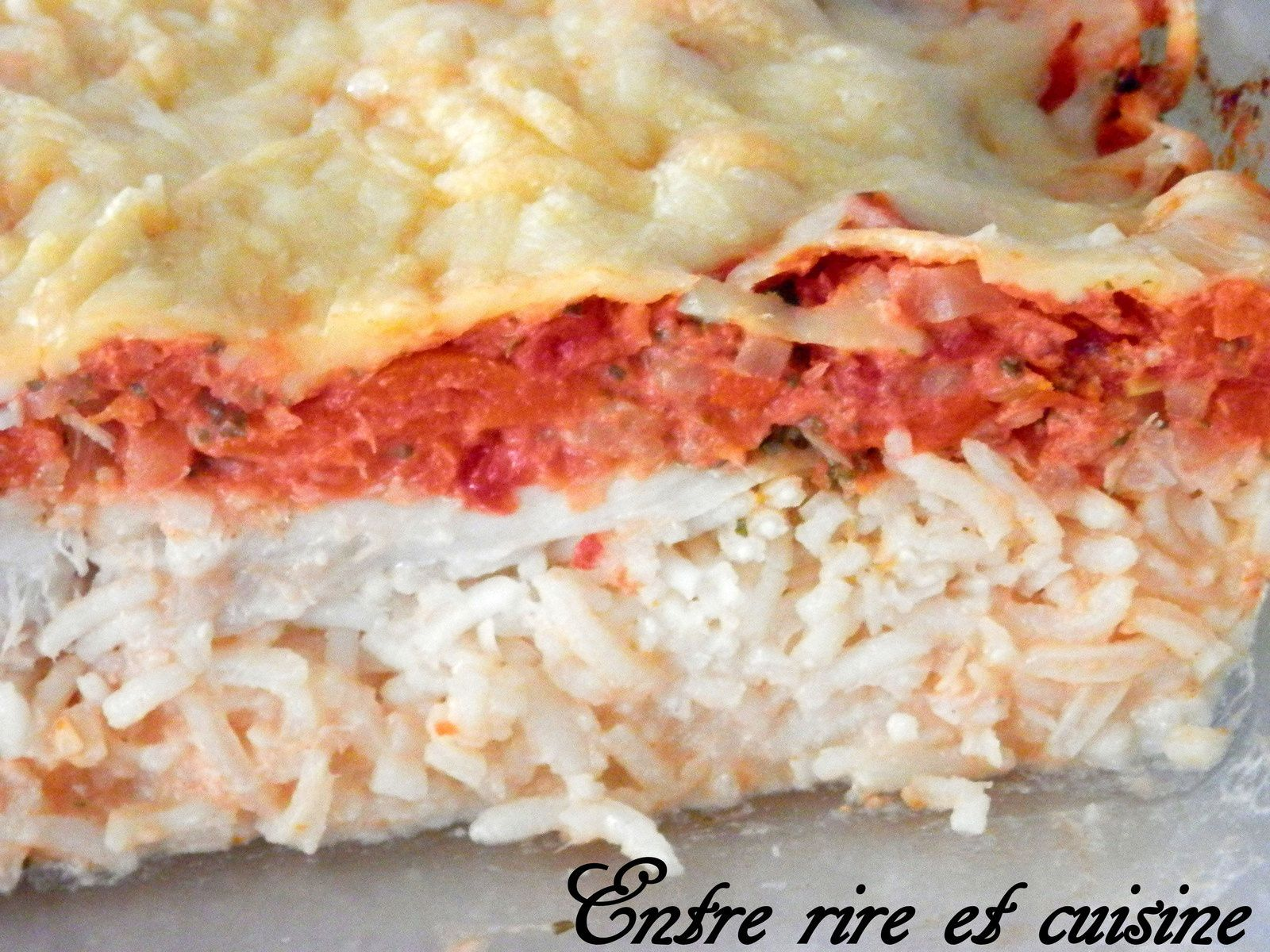 Gratin de riz au cabillaud et aux légumes à la tomate