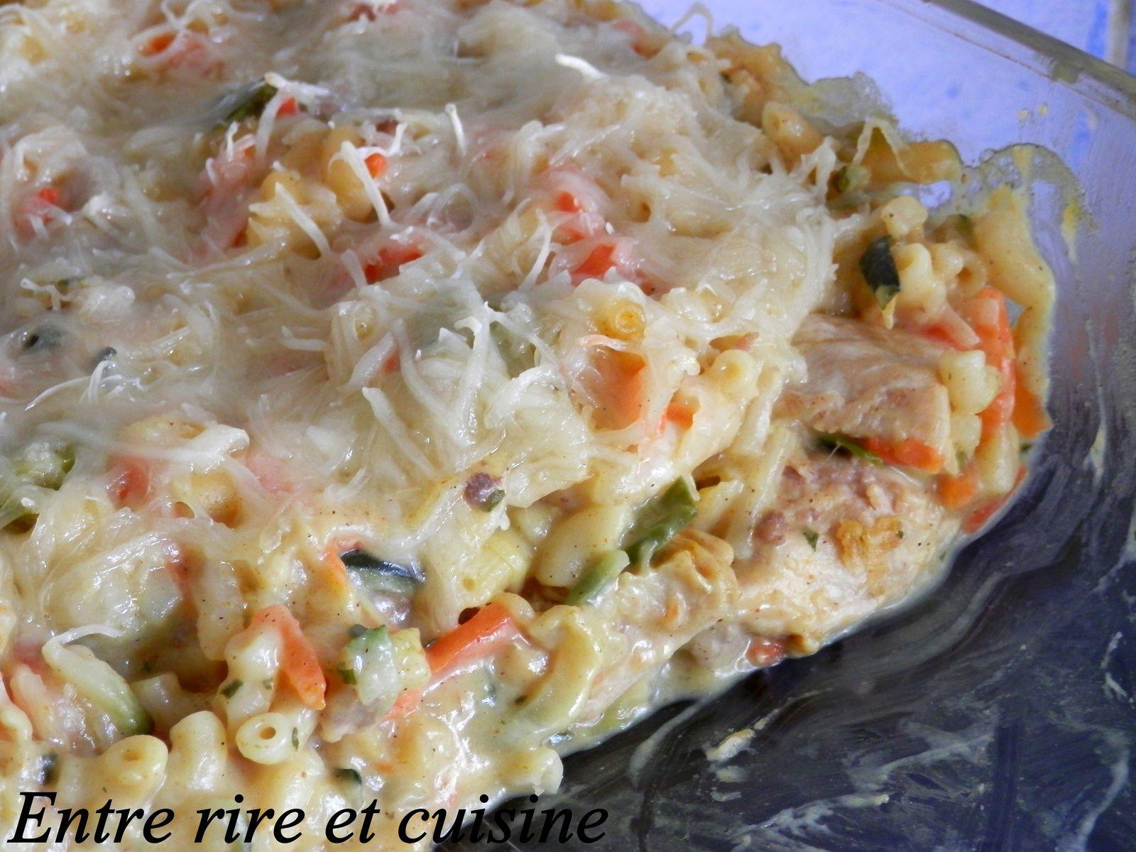 Gratin de Coquillettes, Poulet, Légumes à la béchamel au Curry