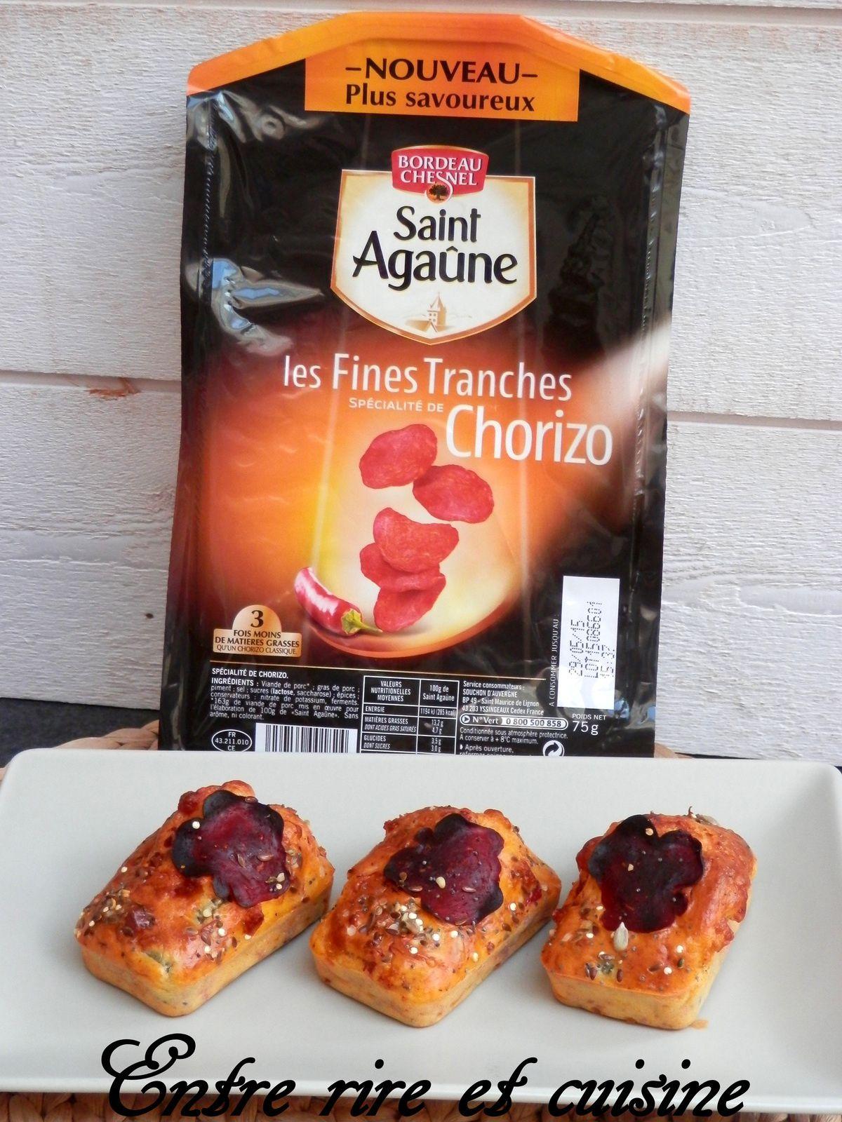 Mini-cakes au Chorizo allégé St Agaûne, Poivron et Mozzarella