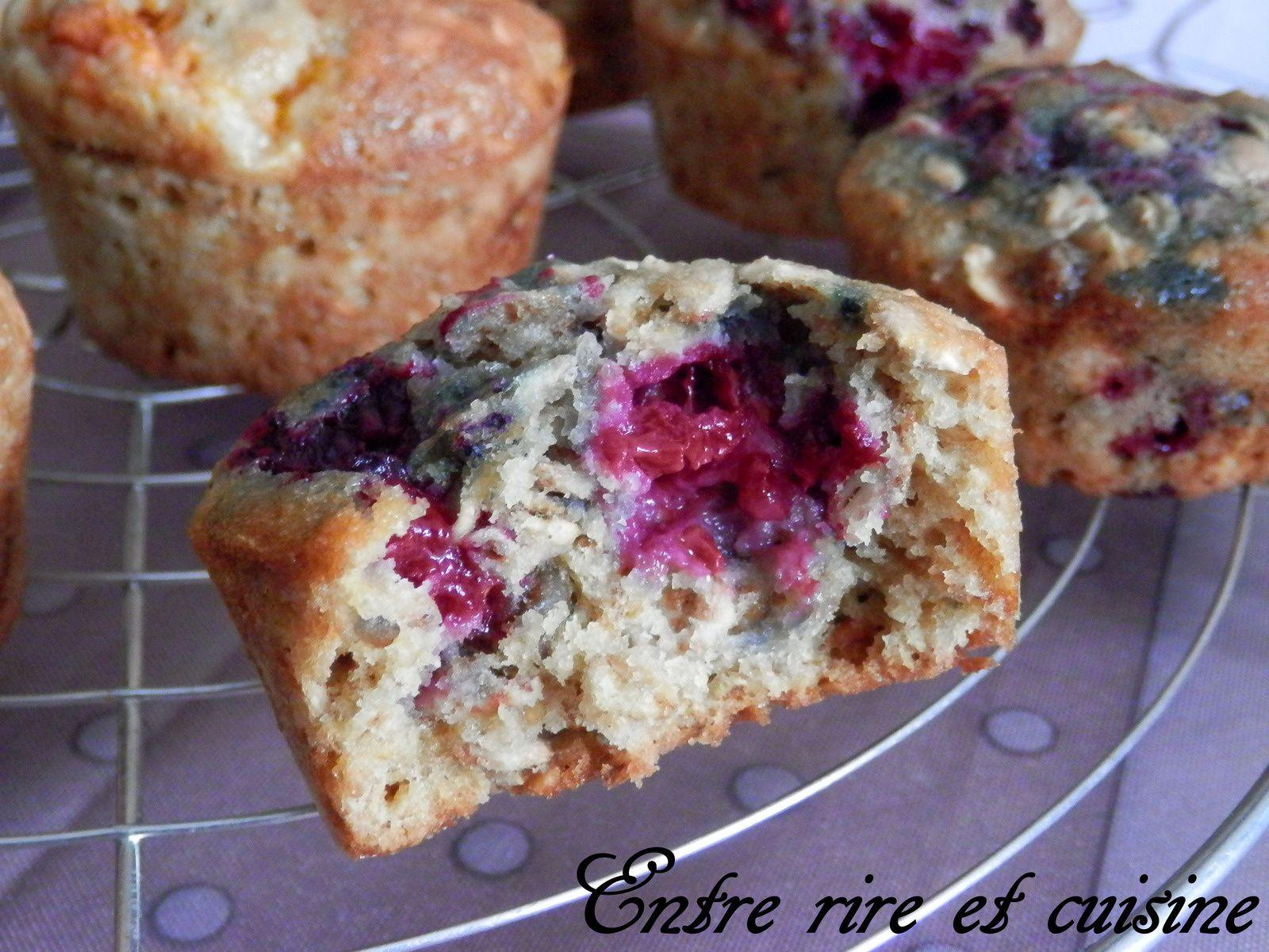 Muffins aux Flocons d'avoine (ou Muesly) et Framboises