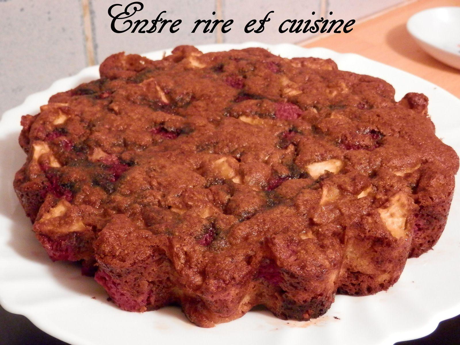Gâteau à la farine de Maïs, aux Pommes et aux Framboises