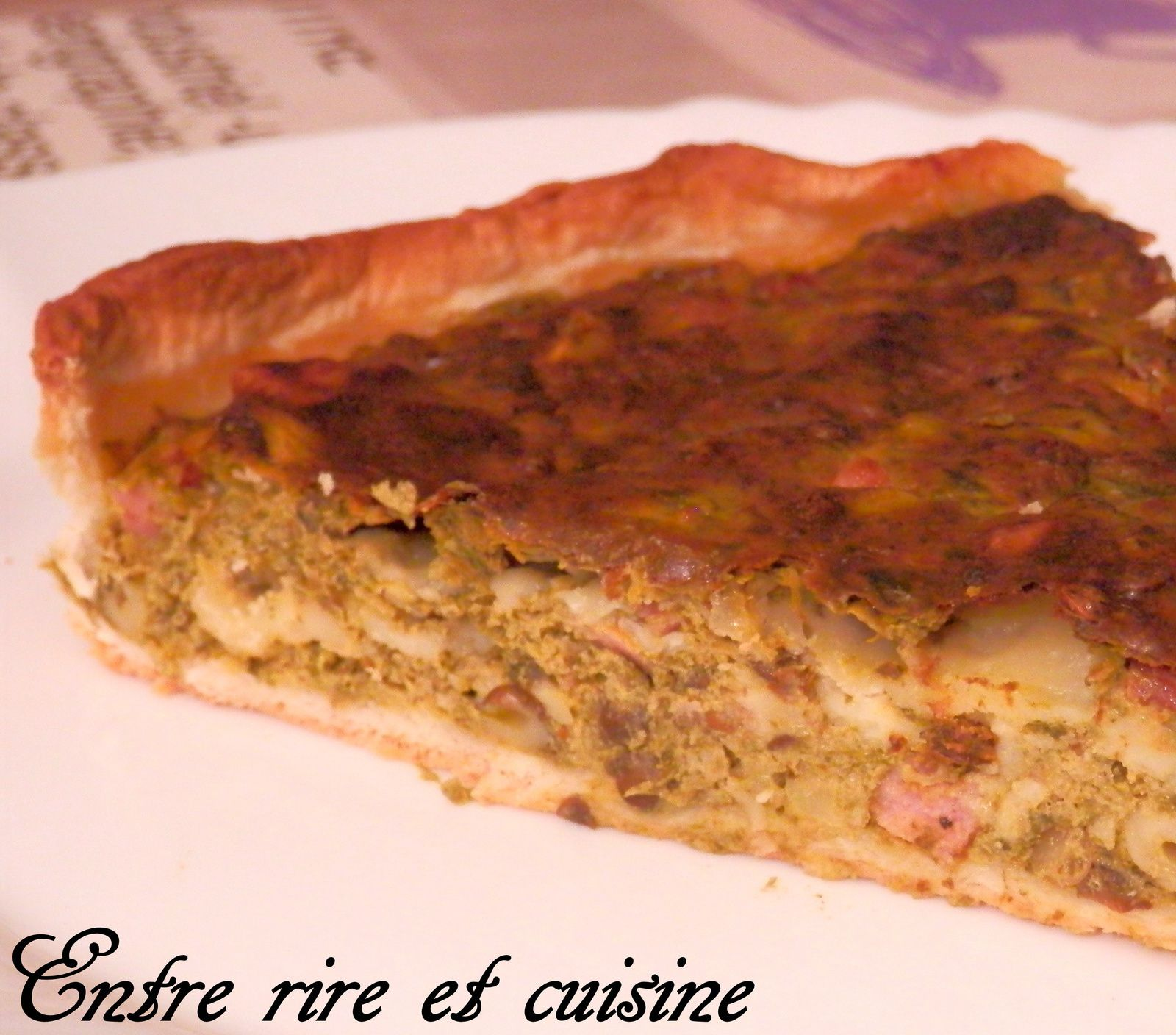 Quiche épinards, lentilles vertes et fromage à raclette {recyclage fond de frigo}