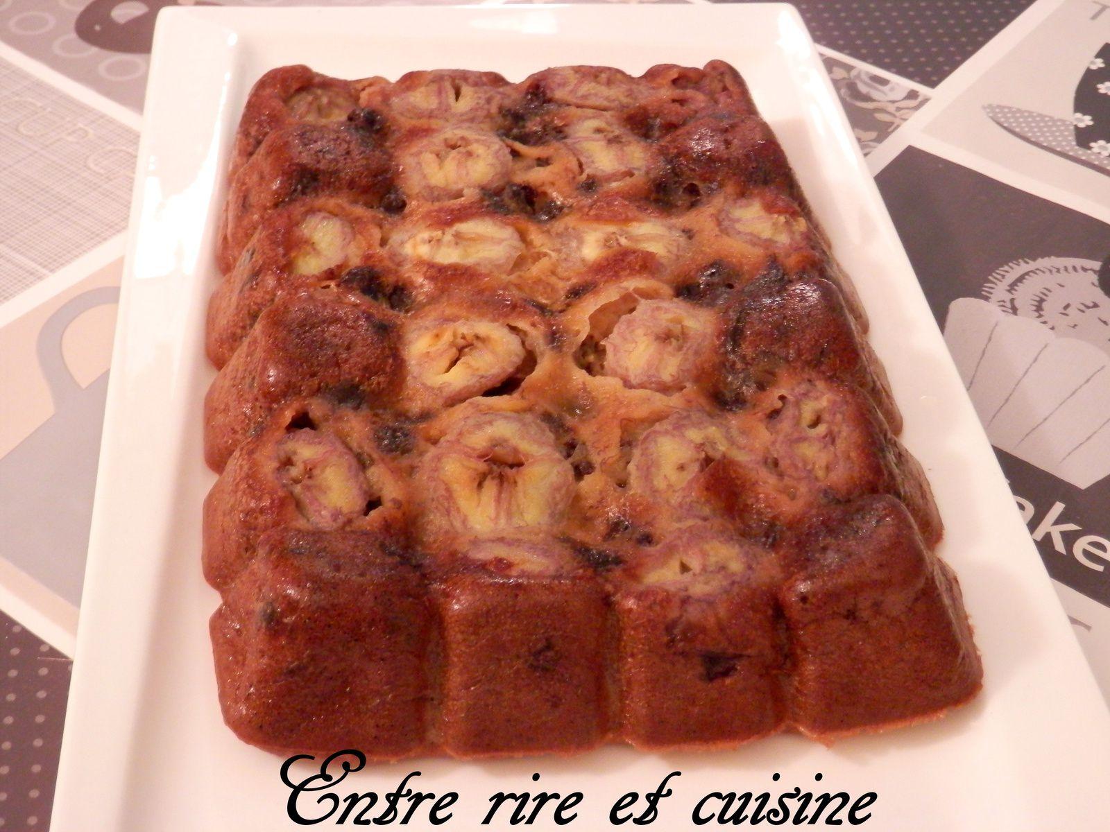 Gâteau fondant bananes / chocolat {sans beurre}